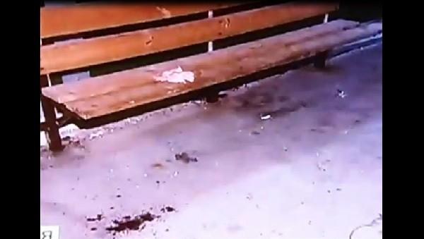 следы крови на скамейке и под ней