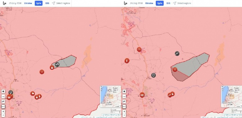 На данном коллаже можете видеть два скрина регулярно обновляемой тактической онлайн-карты syria.liveuamap.com. Слева отображена тактическая ситуация на 26 июля 2018 года (игиловский плацдарм на юге Сирии имеет размер 30 X 12 км); справа представлена оперативная обстановка к утру 28 июля 2018 года (формирования боевиков ИГ осуществили успешный наступательный рывок в направлении города Шахба, взяв под контроль тактически важную деревню Вади Хараз и прилегающие высоты). Такое наступление не могло быть успешным без подкрепления со стороны формирований псевдохалифата, прибывших из подконтрольного США Ат-Танфа.
