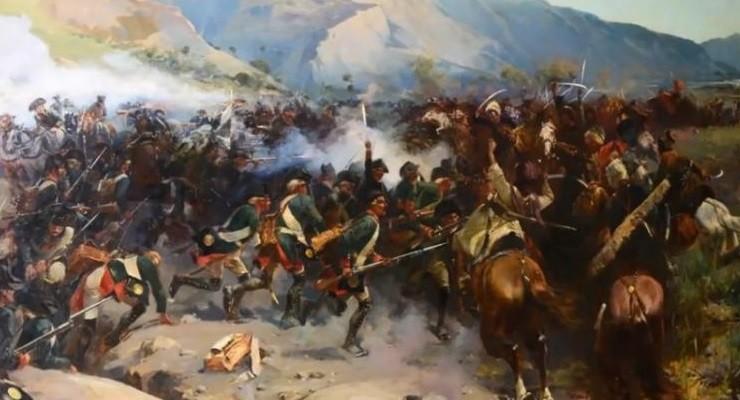 Битва на реке Иори, в которой российская армия разгромила аварское войско, шедшее на Грузию. 1800 год.
