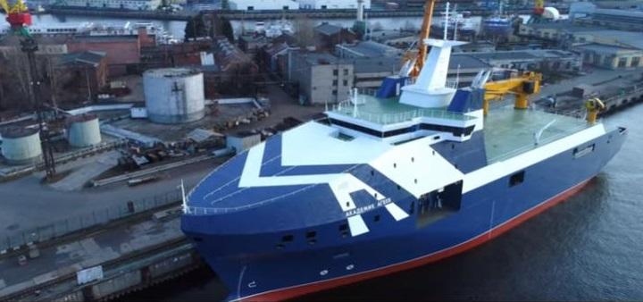 В Петербурге на воду спущено секретное океанографическое судно