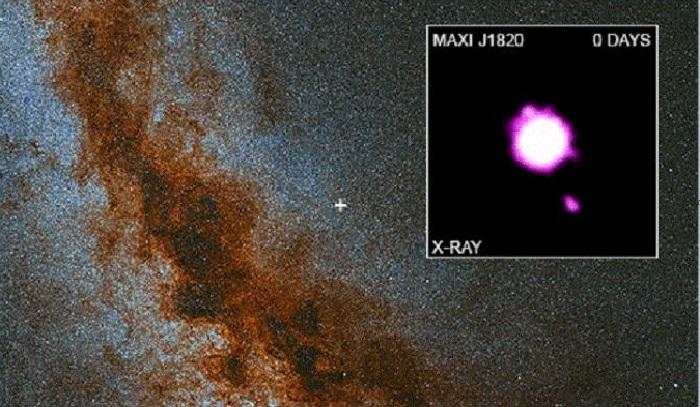 Черная дыра поймала извергающиеся в космос струи.
