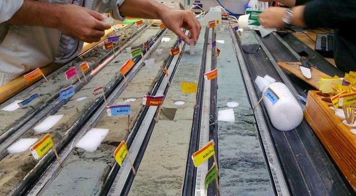 Исследователи берут образцы из глубоководных отложений. Фото: sciencemag.org