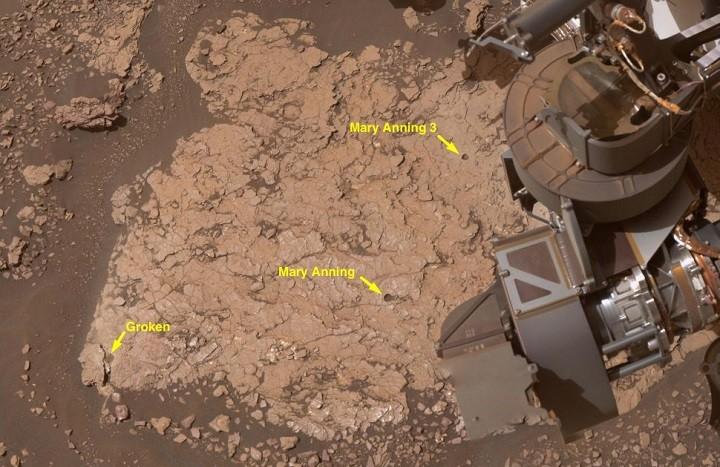 Вид с высоты на поверхность Марса.