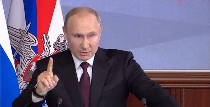 Президент России Владимир Путин выступает на коллегии Минобороны. Фото: youtube.com