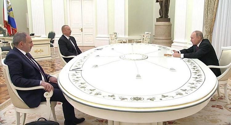 Трехсторонние переговоры по Нагорному Карабаху в Кремле. Фото: ren.tv