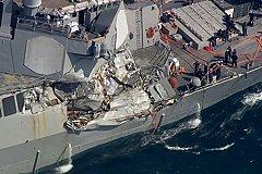 Американский эсминец столкнулся с торговым судном. Есть жертвы.