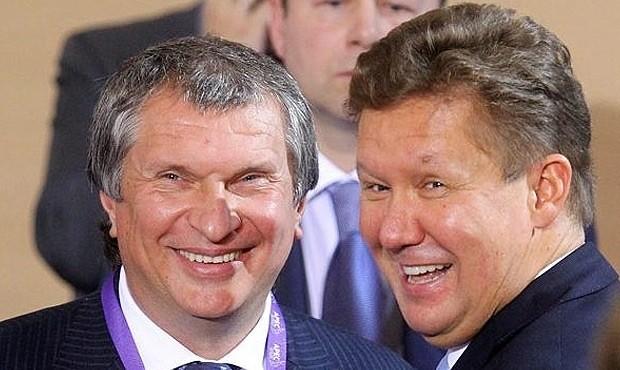 Глава Роснефти Игорь Сечин и глава Газпрома Алексей Миллер. Фото: og.ru
