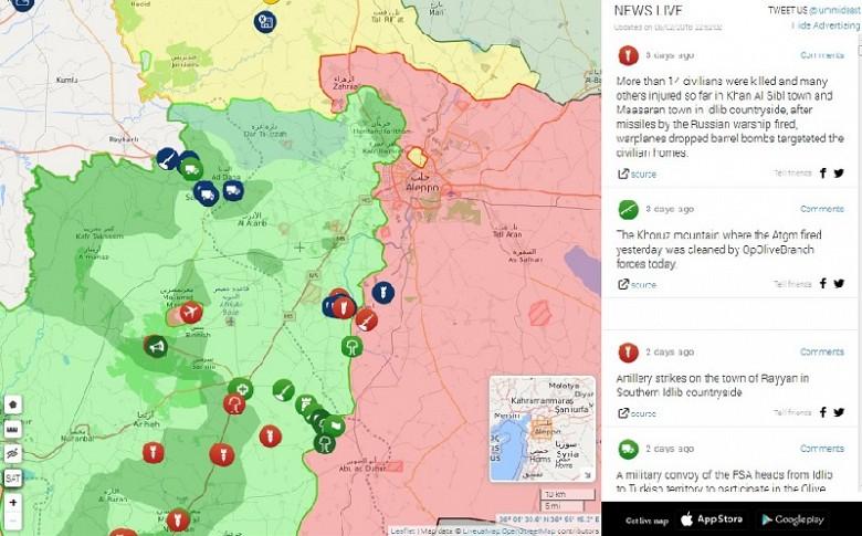 Тактическая обстановка на линии фронта между Сирийской Арабской Армией и «Тахрир аш-Шам» (в районе провинций Идлиб и западной части Алеппо) на 5 февраля. Синие тактические значки с изображением грузового транспорта отображают продвижение турецкого военного конвоя через подконтрольную «ан-Нусре» территорию. Как видите, «эрдогановские орлы» очень хорошо ладят с теми, из-за ко-го погиб наш лётчик-штурмовик Роман Филипов