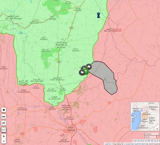 Серая территория - подконтрольный ИГ тактический «рог», прорвавшийся к идлибским оп-позиционным и террористическим формированиям (может сыграть решающую роль в захвате новых территорий у Сирийской Арабской Армии в мухафазе Хама, а поэтому должен быть зачищен в первую очередь)