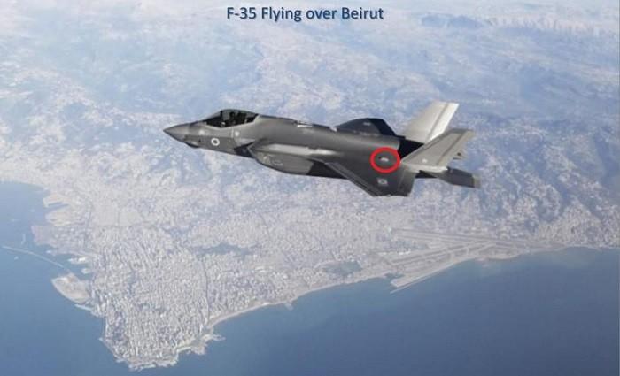 Полёт многофункционального истребителя 5-го поколения F-35I «Adir» близ Бейрута; красным кругом отмечена линза Люнеберга