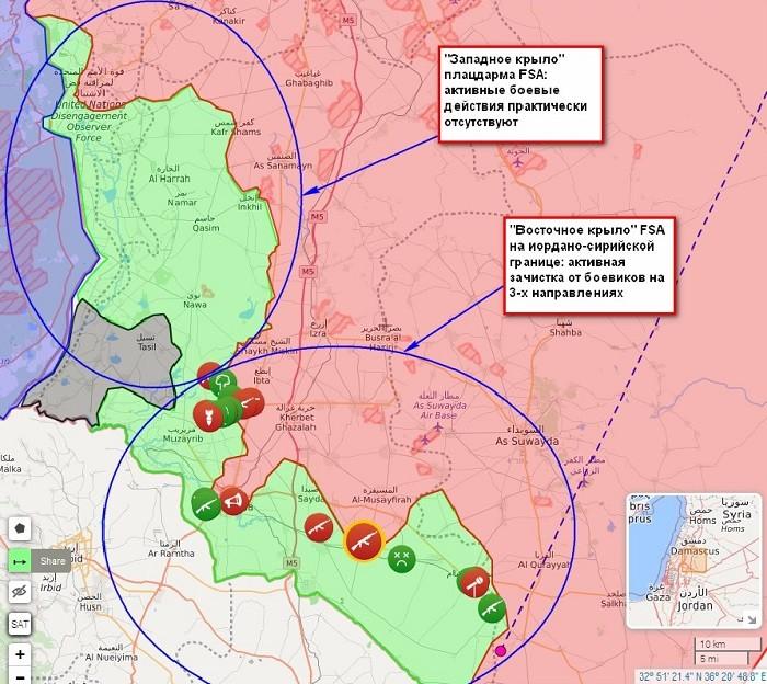 Тактическая ситуация в районе «южного фронта» «Даръа - Эс-Сувейда - Эль-Кунейтра»