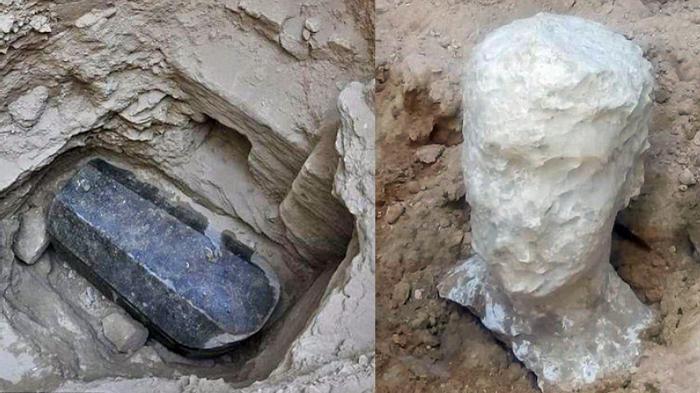 Гигантский саркофаг из черного гранита, найденный в Александрии. Фото: Egypt Ministry of Antiquities / Facebook