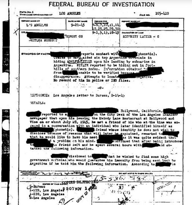 В ФБР сняли гриф секретности с информации о побеге Гитлера в Аргентину фото 2
