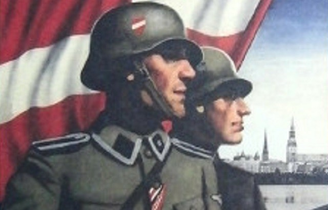 Латвийские каратели Ваффен СС на пропагандистском плакате времен ВОВ
